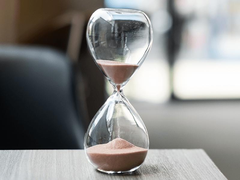 Timeglas der viser tid der spares med en disc-profil